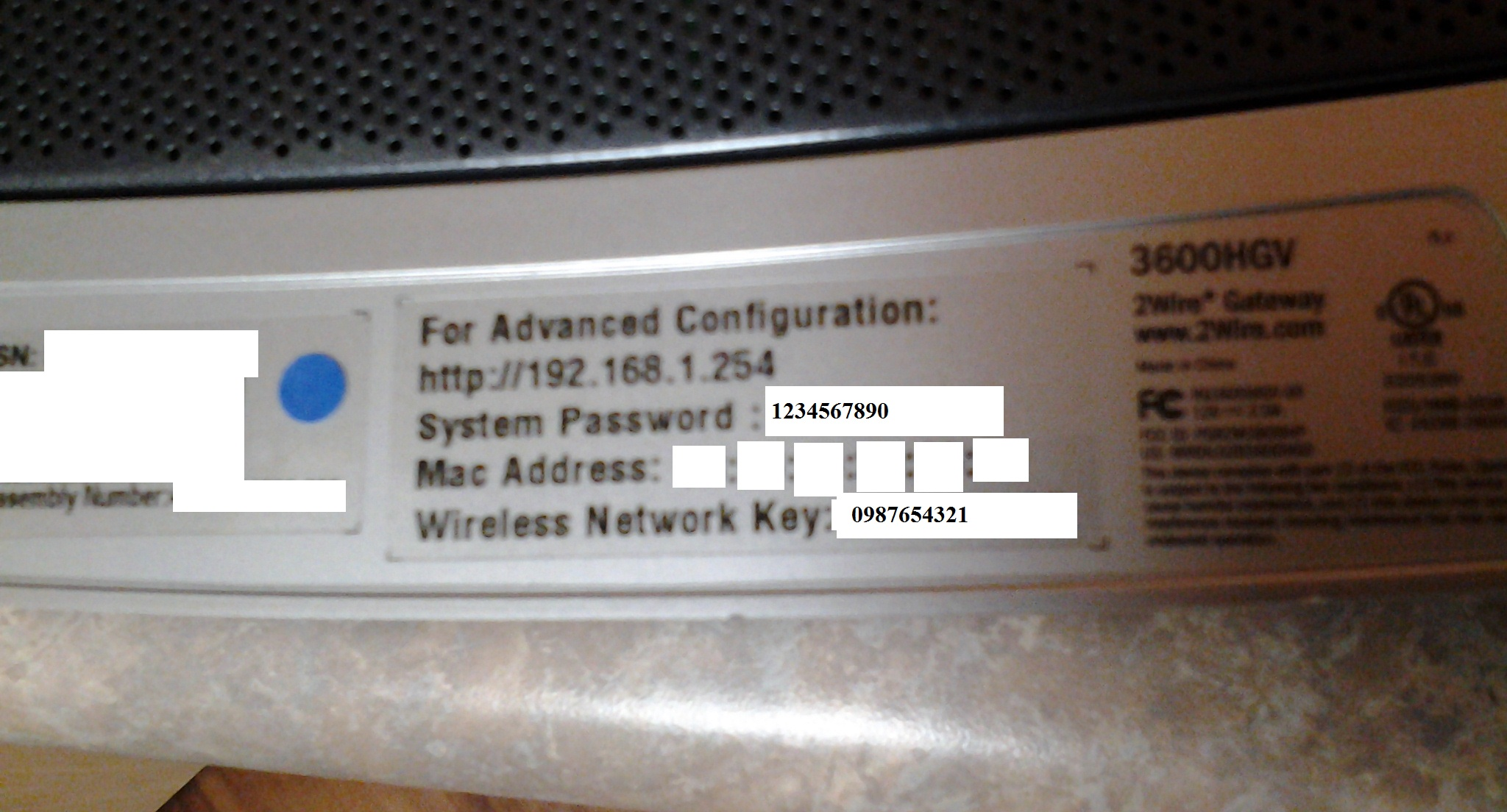 2WIRE router and strange default password choice